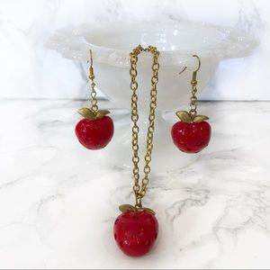 Strawberry Necklace & Earrings Set